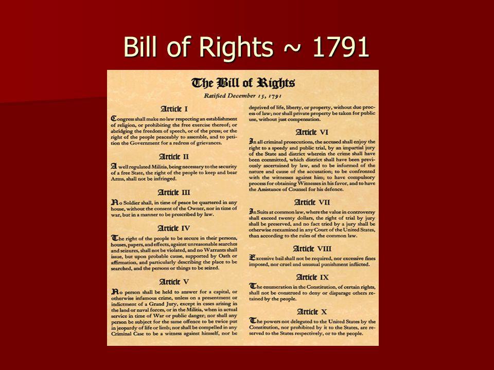 Bill of Rights ~ 1791