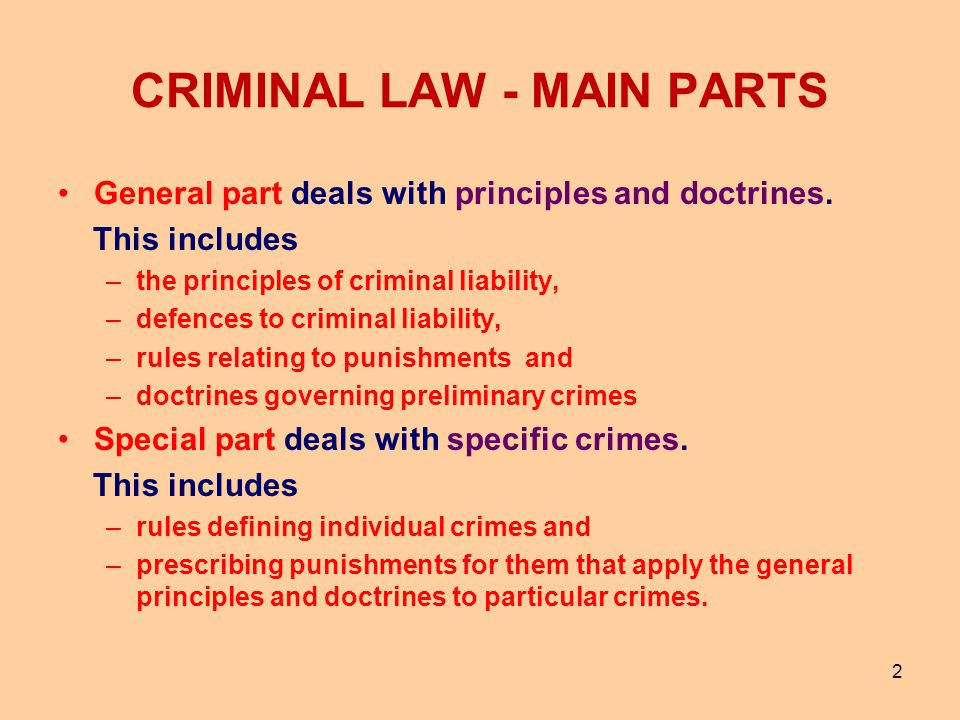 CRIMINAL LAW - MAIN PARTS