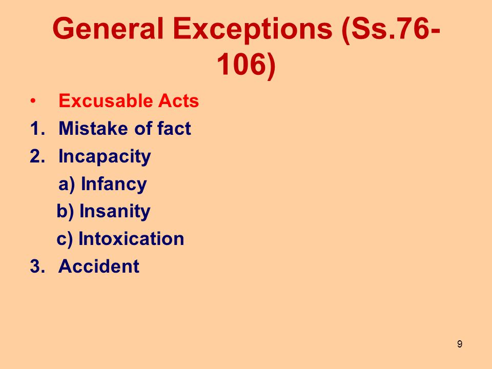 General Exceptions (Ss.76-106)