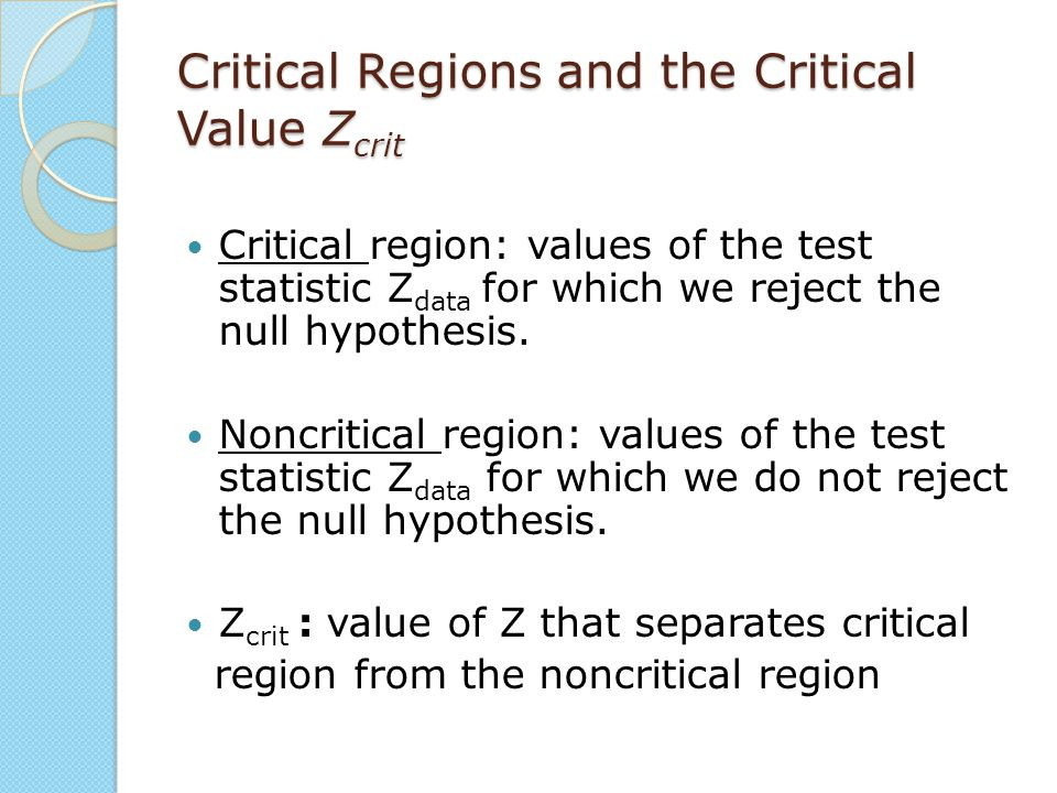 Critical Regions and the Critical Value Zcrit