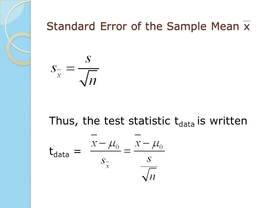 Standard Error of the Sample Mean x