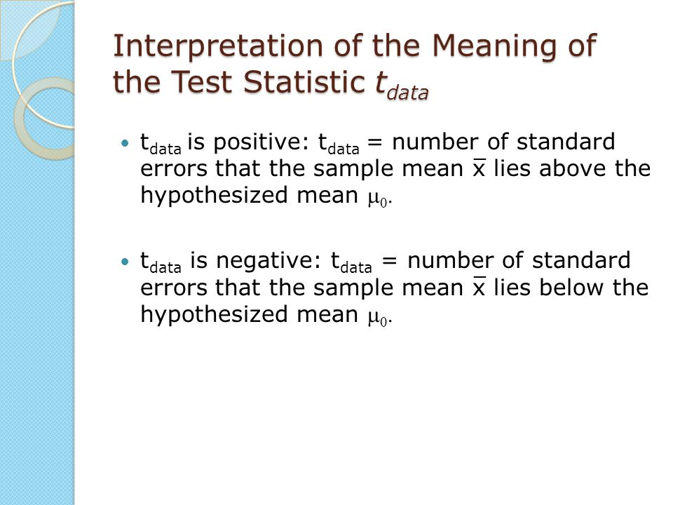 Interpretation of the Meaning of the Test Statistic tdata