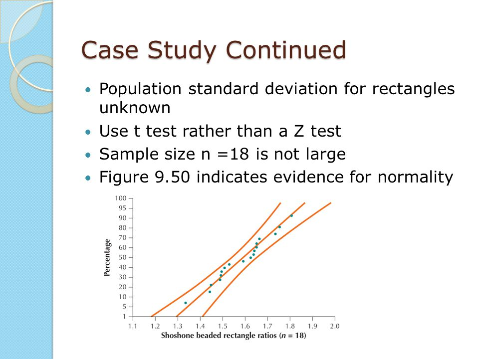 Case Study Continued Population standard deviation for rectangles unknown. Use t test rather than a Z test.