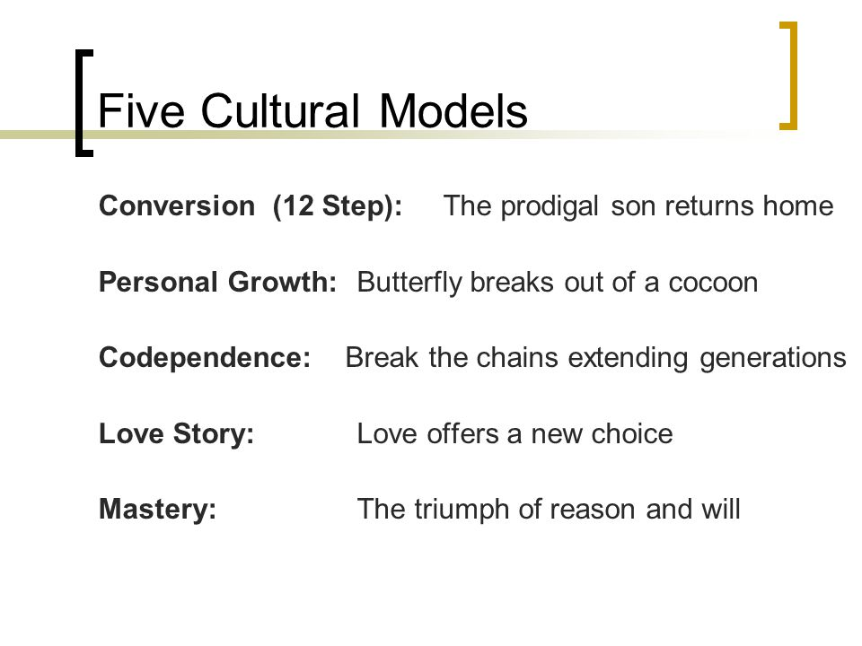 Five Cultural Models Conversion (12 Step): The prodigal son returns home. Personal Growth: Butterfly breaks out of a cocoon.