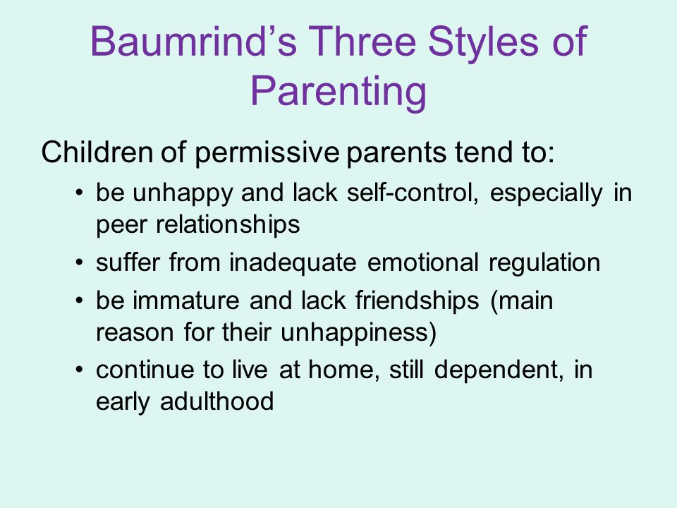 Baumrind's Three Styles of Parenting