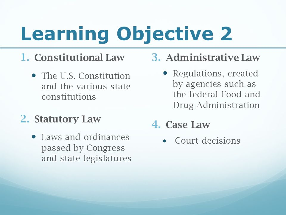 Learning Objective 2 Constitutional Law Statutory Law
