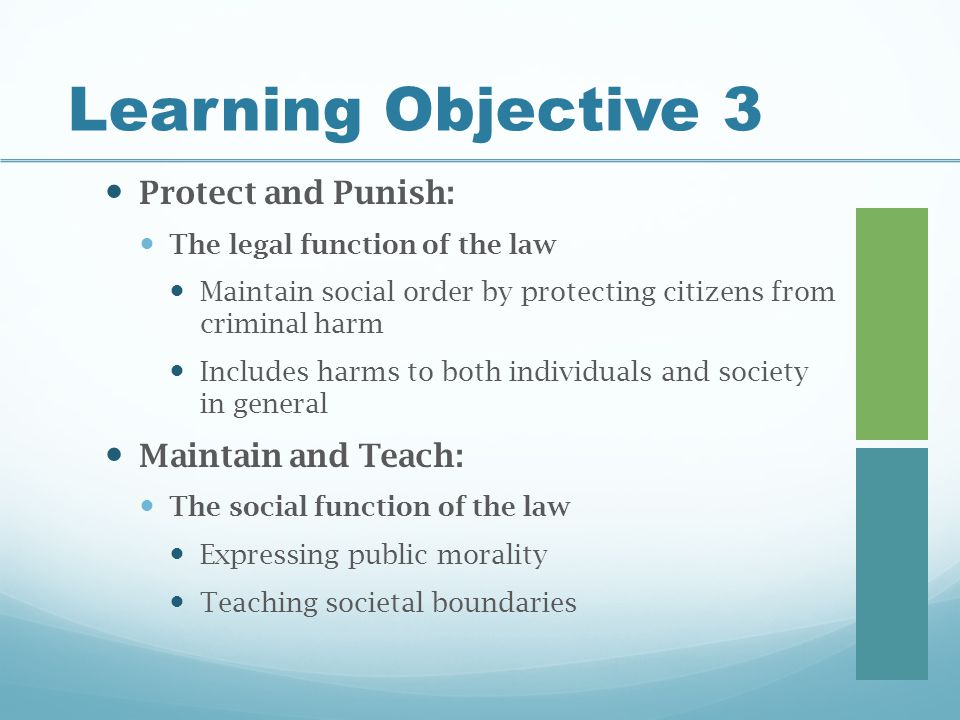 Learning Objective 3 Protect and Punish: Maintain and Teach: