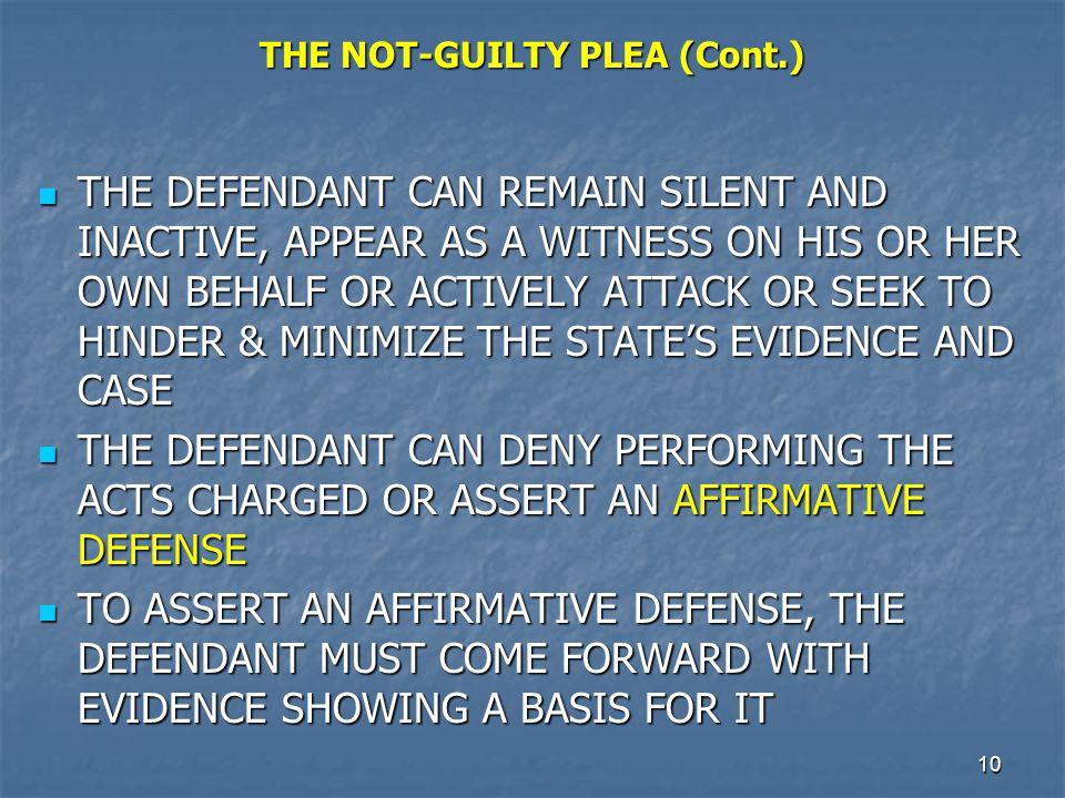 THE NOT-GUILTY PLEA (Cont.)