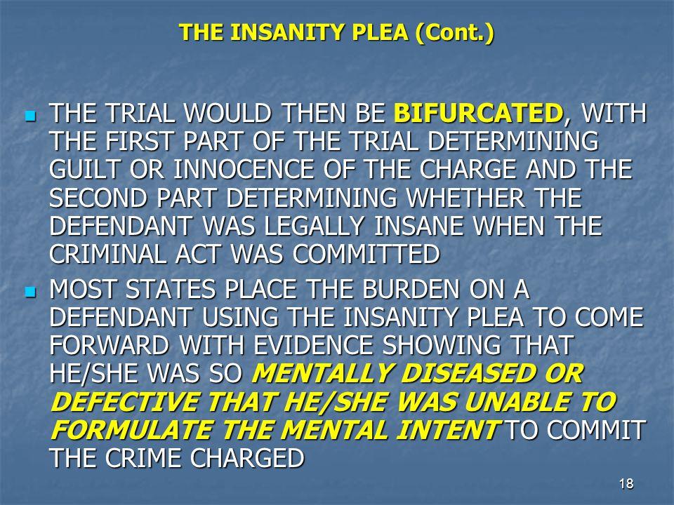 THE INSANITY PLEA (Cont.)