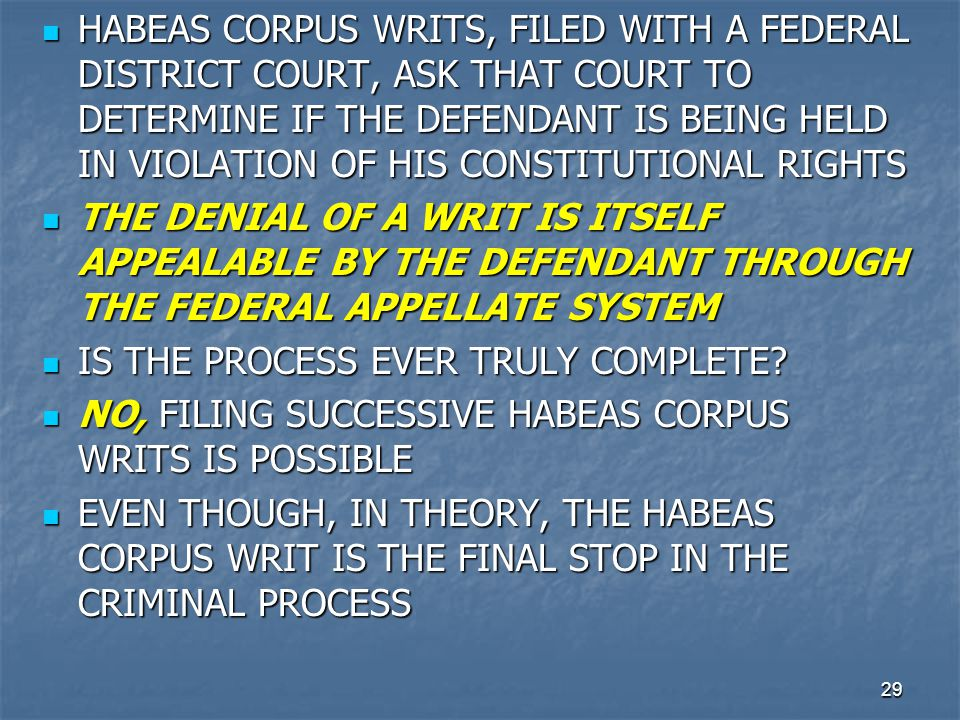 HABEAS CORPUS WRITS, FILED WITH A FEDERAL DISTRICT COURT, ASK THAT COURT TO DETERMINE IF THE DEFENDANT IS BEING HELD IN VIOLATION OF HIS CONSTITUTIONAL RIGHTS