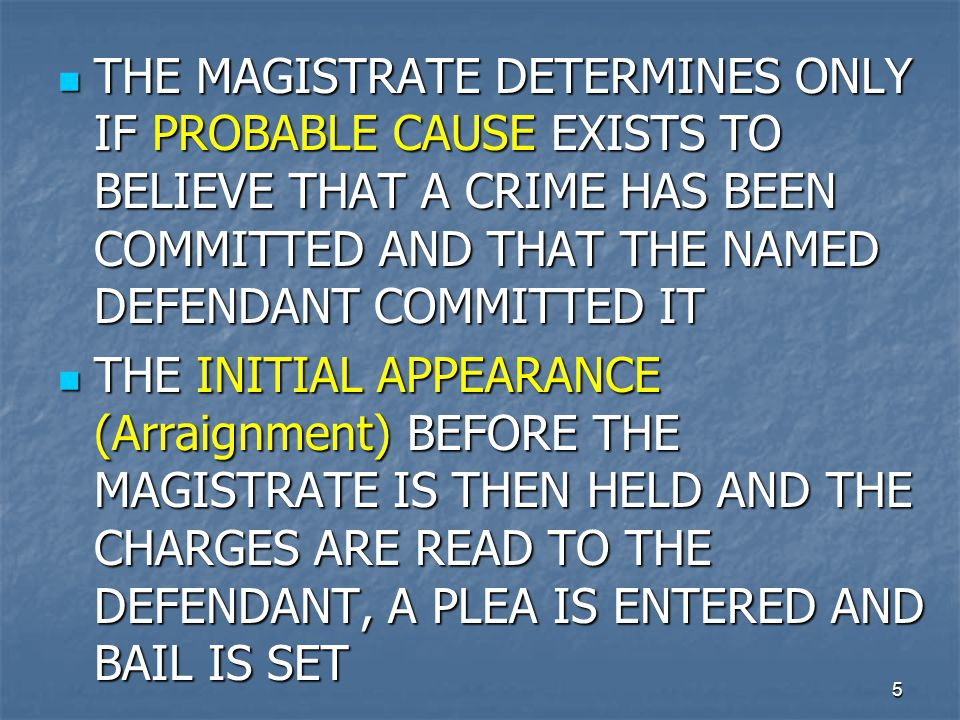 THE MAGISTRATE DETERMINES ONLY IF PROBABLE CAUSE EXISTS TO BELIEVE THAT A CRIME HAS BEEN COMMITTED AND THAT THE NAMED DEFENDANT COMMITTED IT