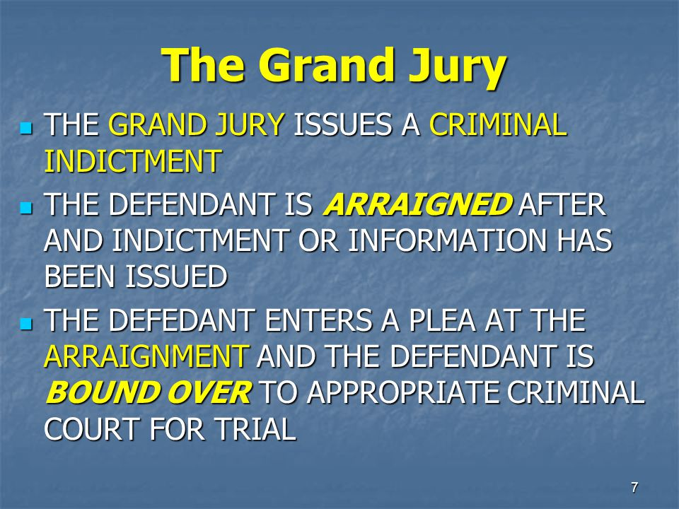 The Grand Jury THE GRAND JURY ISSUES A CRIMINAL INDICTMENT