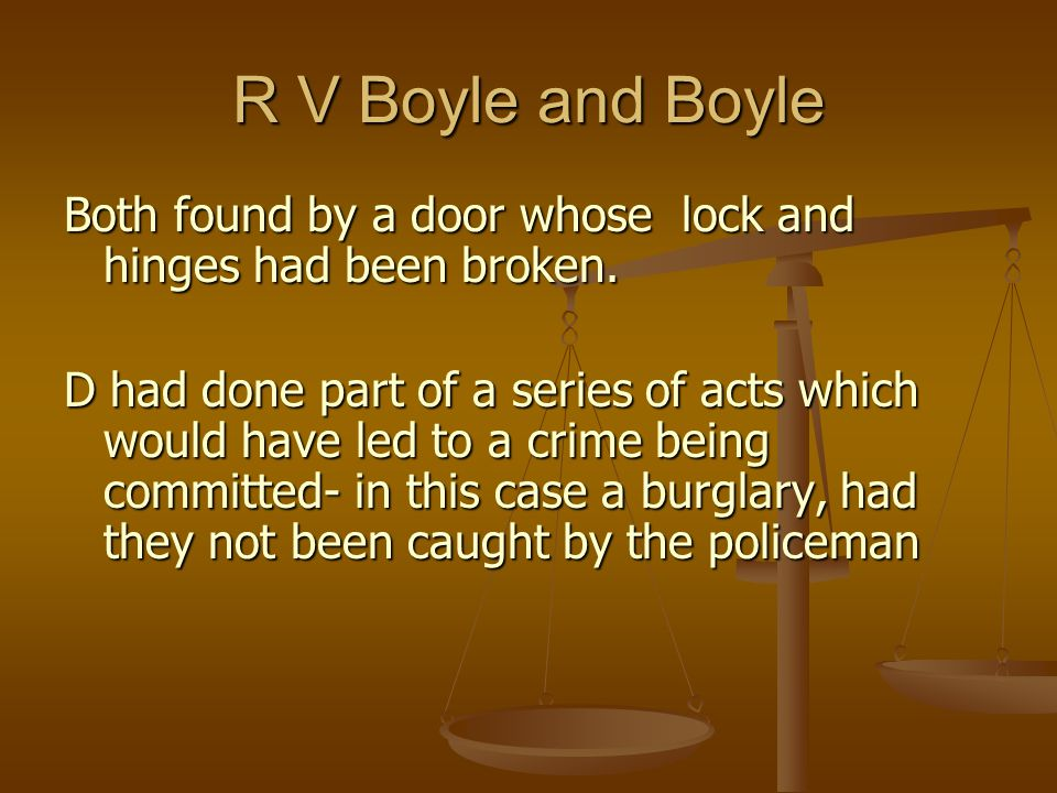 R V Boyle and Boyle Both found by a door whose lock and hinges had been broken.