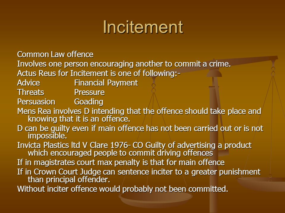 Incitement Common Law offence