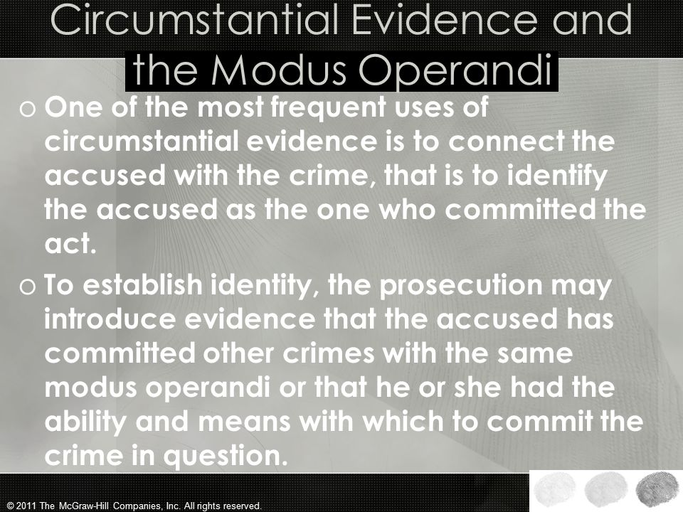 Circumstantial Evidence and the Modus Operandi