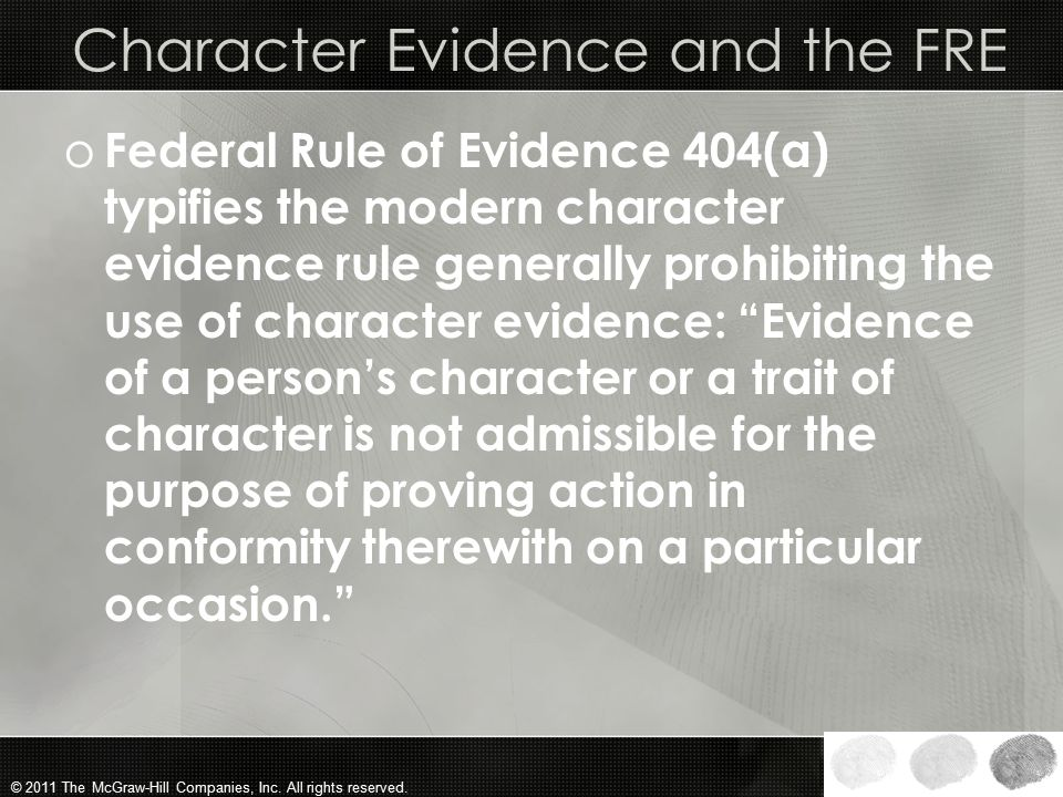 Character Evidence and the FRE