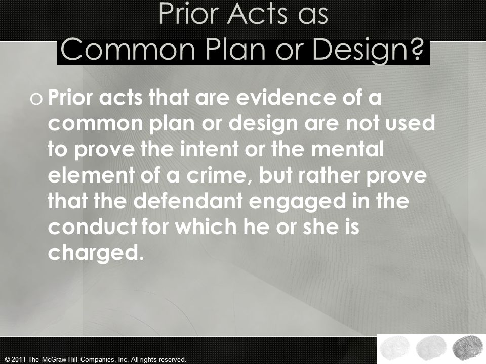 Prior Acts as Common Plan or Design