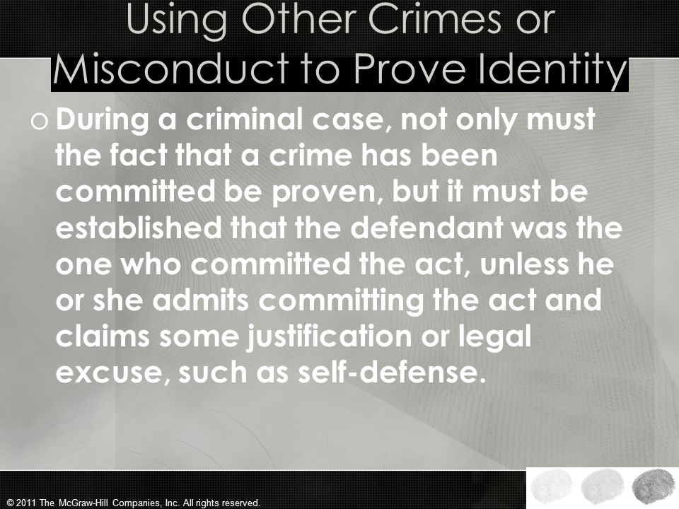 Using Other Crimes or Misconduct to Prove Identity