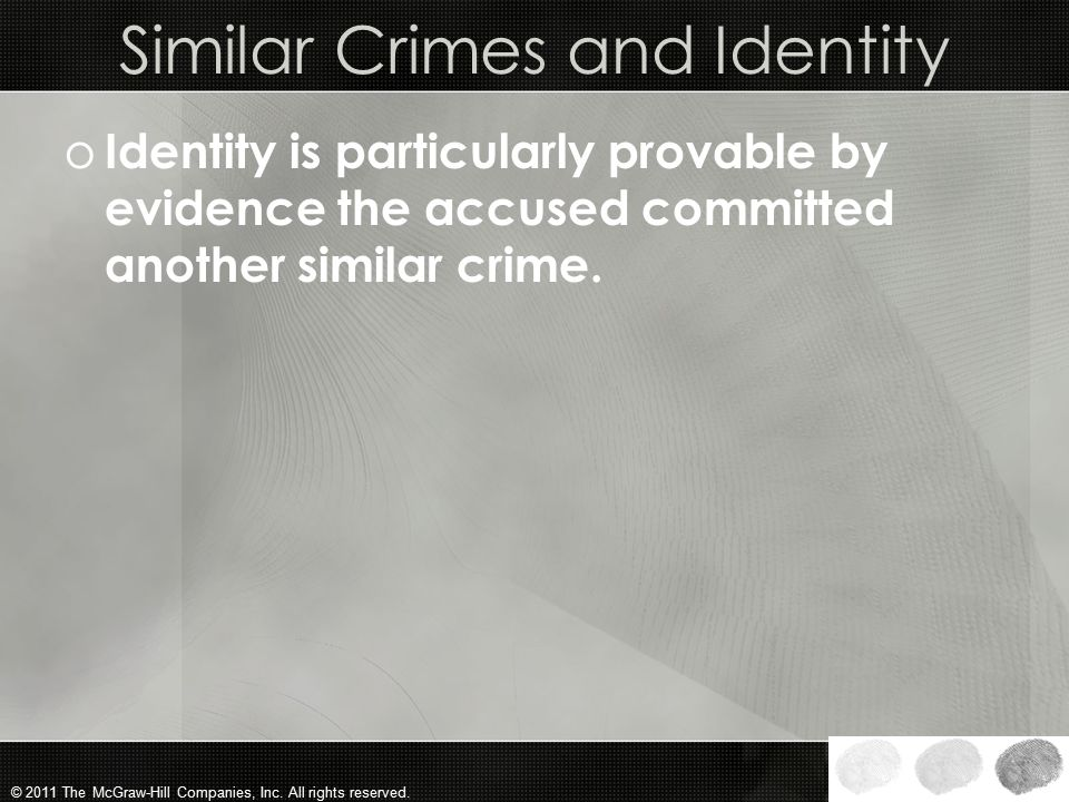 Similar Crimes and Identity