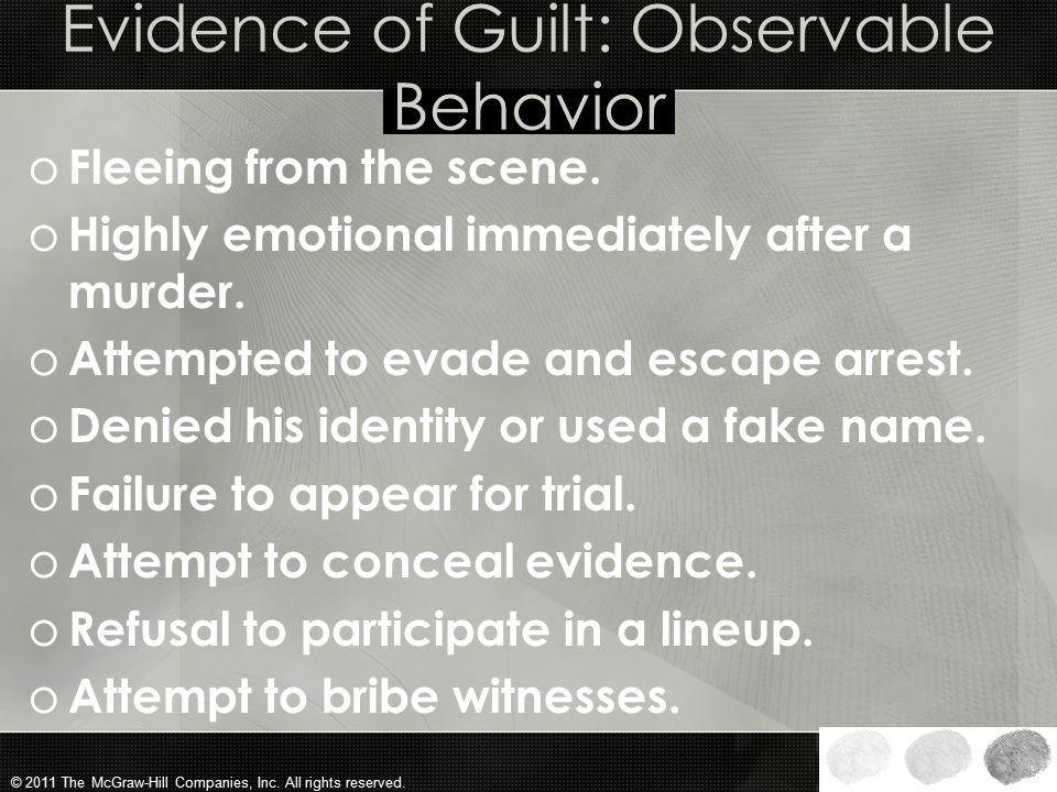 Evidence of Guilt: Observable Behavior