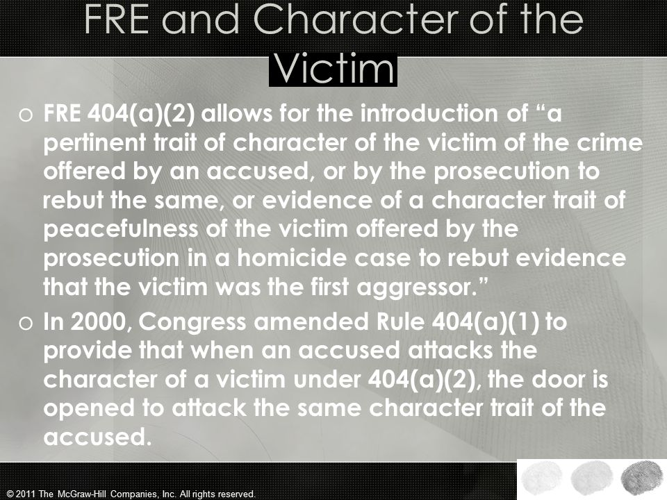FRE and Character of the Victim