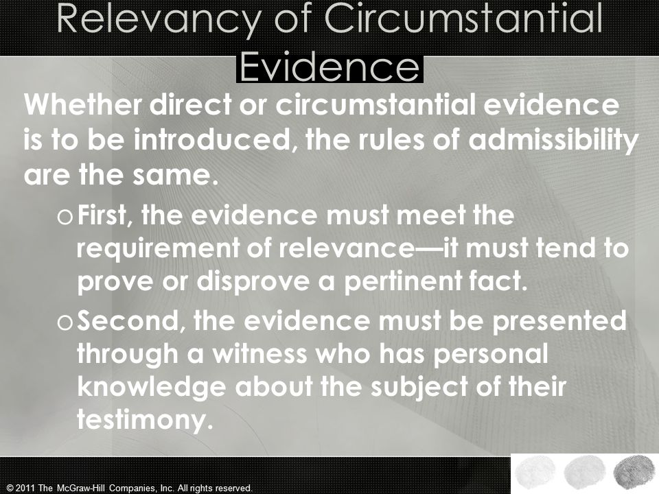 Relevancy of Circumstantial Evidence