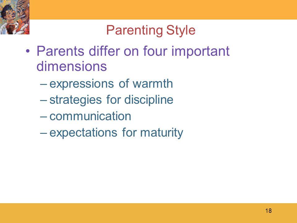 Parents differ on four important dimensions