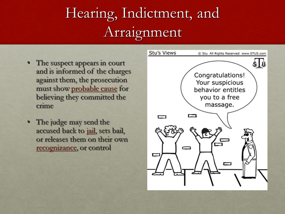 Hearing, Indictment, and Arraignment