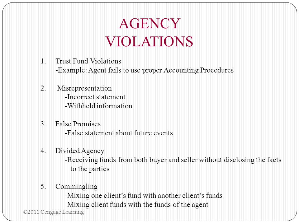 AGENCY VIOLATIONS Trust Fund Violations