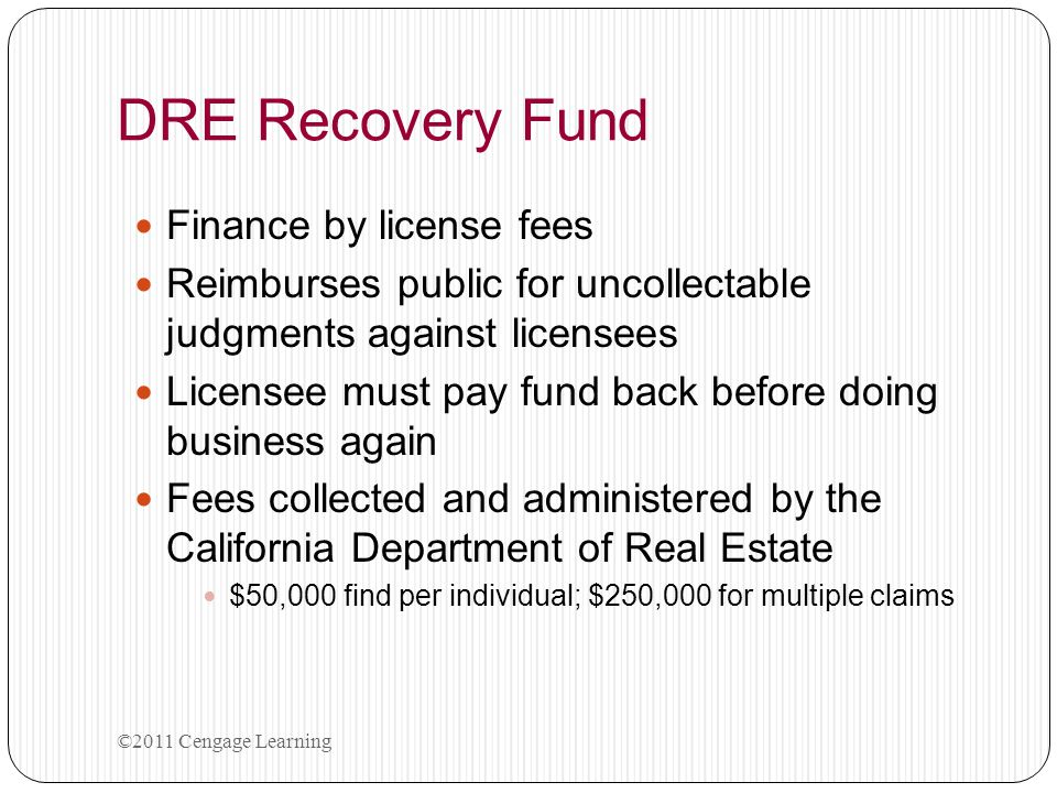 DRE Recovery Fund Finance by license fees