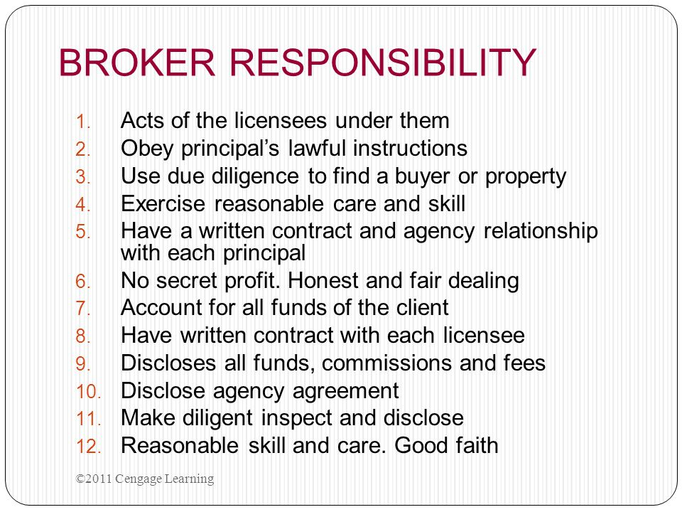BROKER RESPONSIBILITY