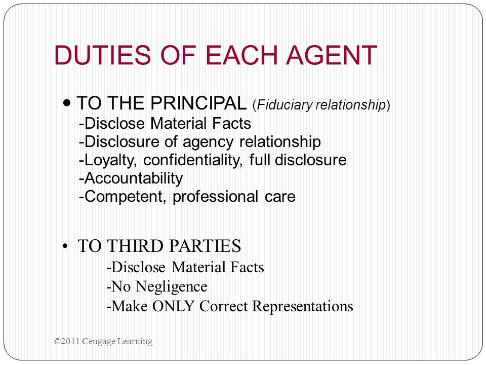 DUTIES OF EACH AGENT TO THE PRINCIPAL (Fiduciary relationship)