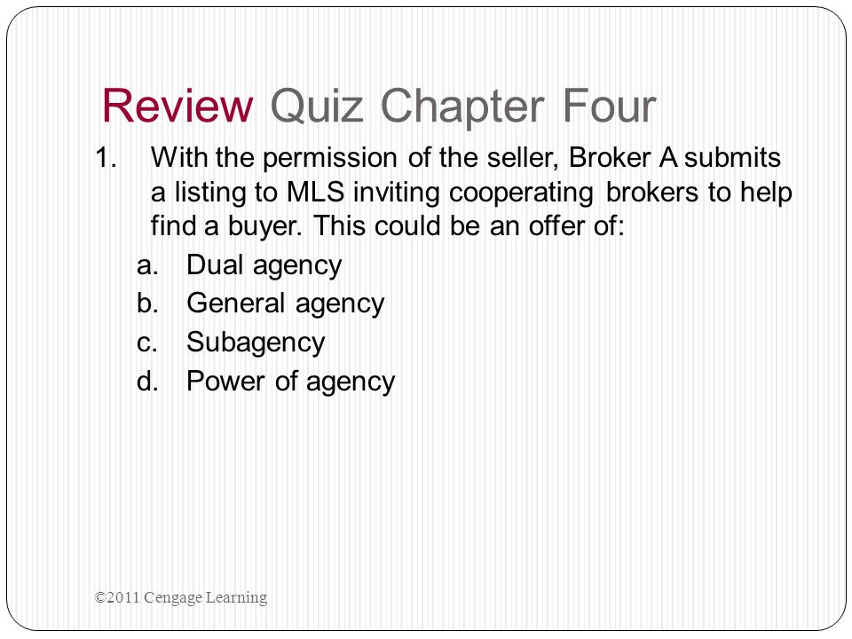 Review Quiz Chapter Four