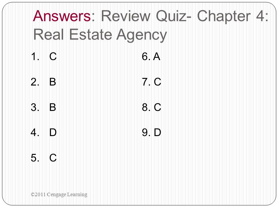 Answers: Review Quiz- Chapter 4: Real Estate Agency