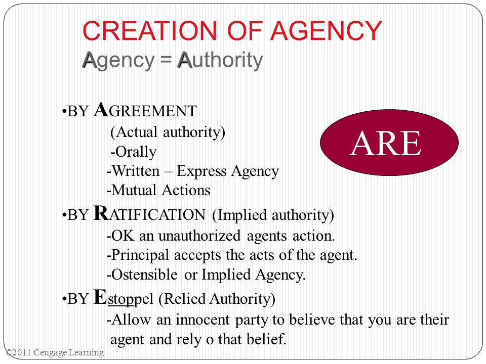 CREATION OF AGENCY Agency = Authority