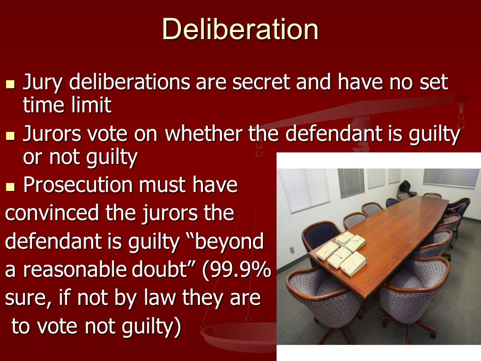 Deliberation Jury deliberations are secret and have no set time limit