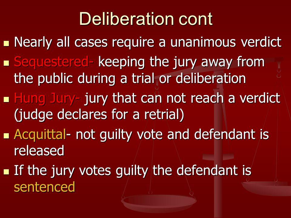 Deliberation cont Nearly all cases require a unanimous verdict