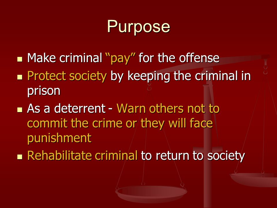 Purpose Make criminal pay for the offense