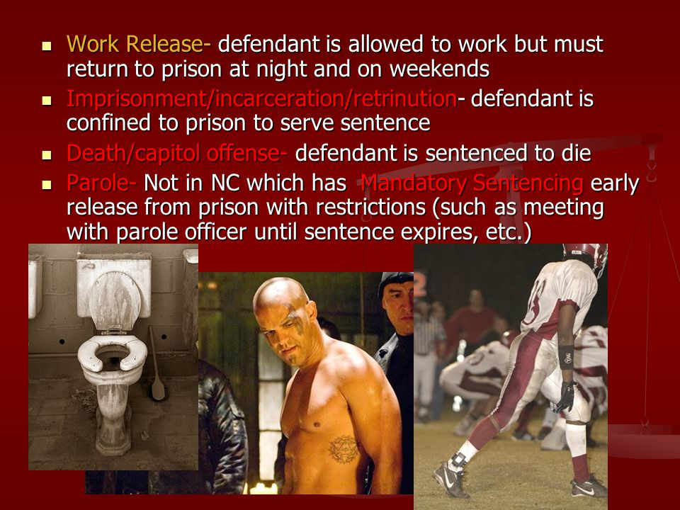 Work Release- defendant is allowed to work but must return to prison at night and on weekends