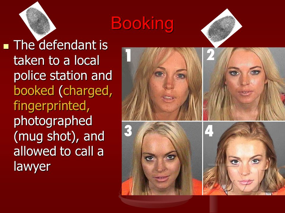 Booking The defendant is taken to a local police station and booked (charged, fingerprinted, photographed (mug shot), and allowed to call a lawyer.