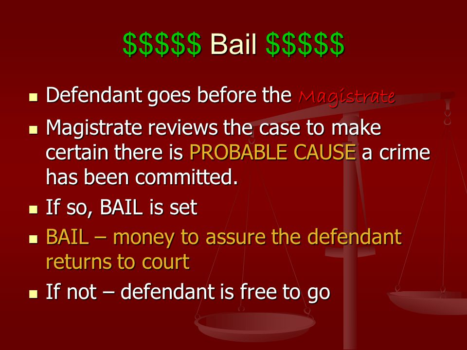 $$$$$ Bail $$$$$ Defendant goes before the Magistrate