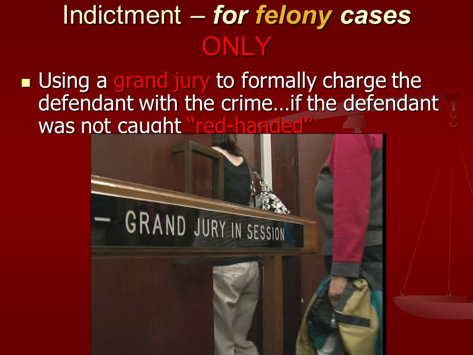 Indictment – for felony cases ONLY