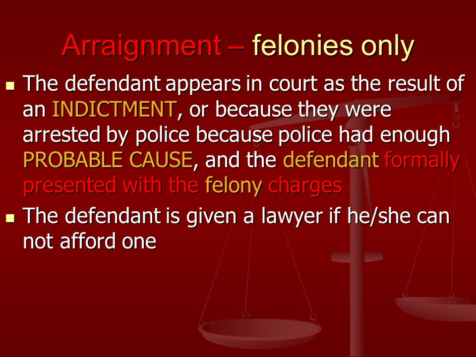 Arraignment – felonies only