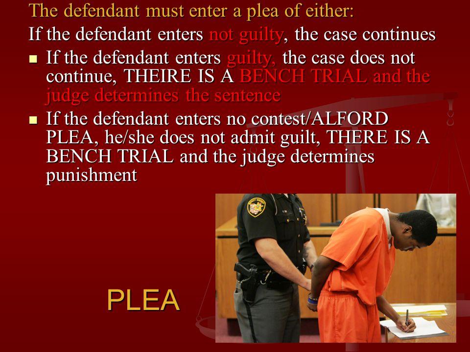 PLEA The defendant must enter a plea of either: