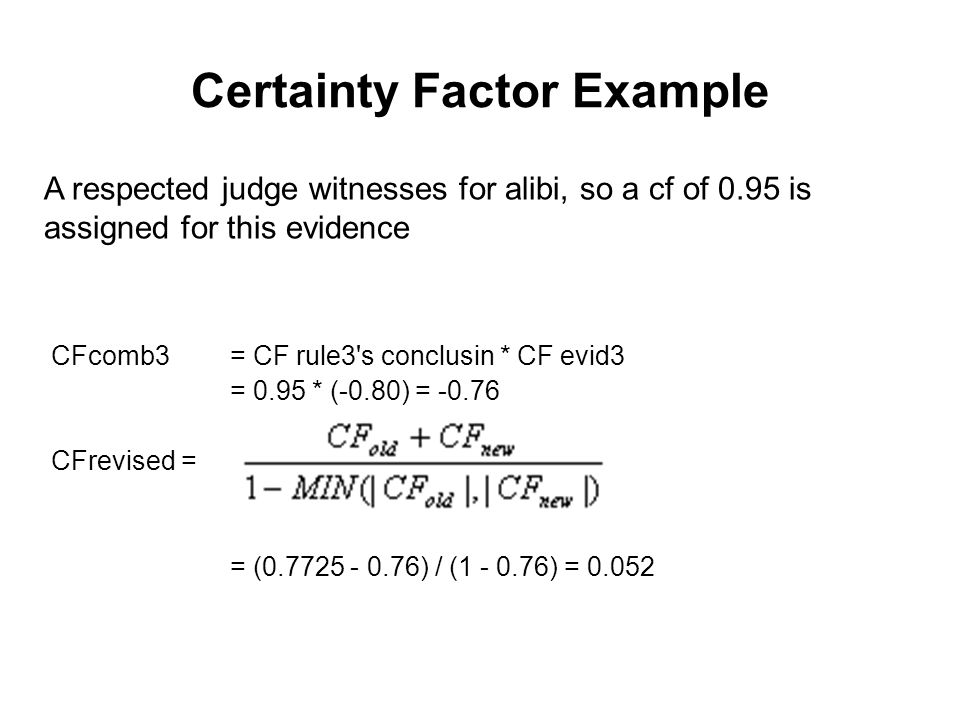 Certainty Factor Example