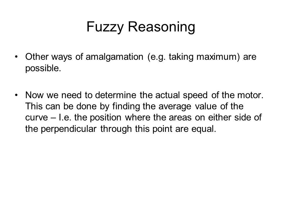 Fuzzy Reasoning Other ways of amalgamation (e.g. taking maximum) are possible.