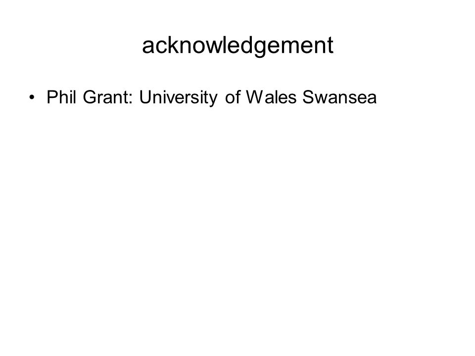 acknowledgement Phil Grant: University of Wales Swansea