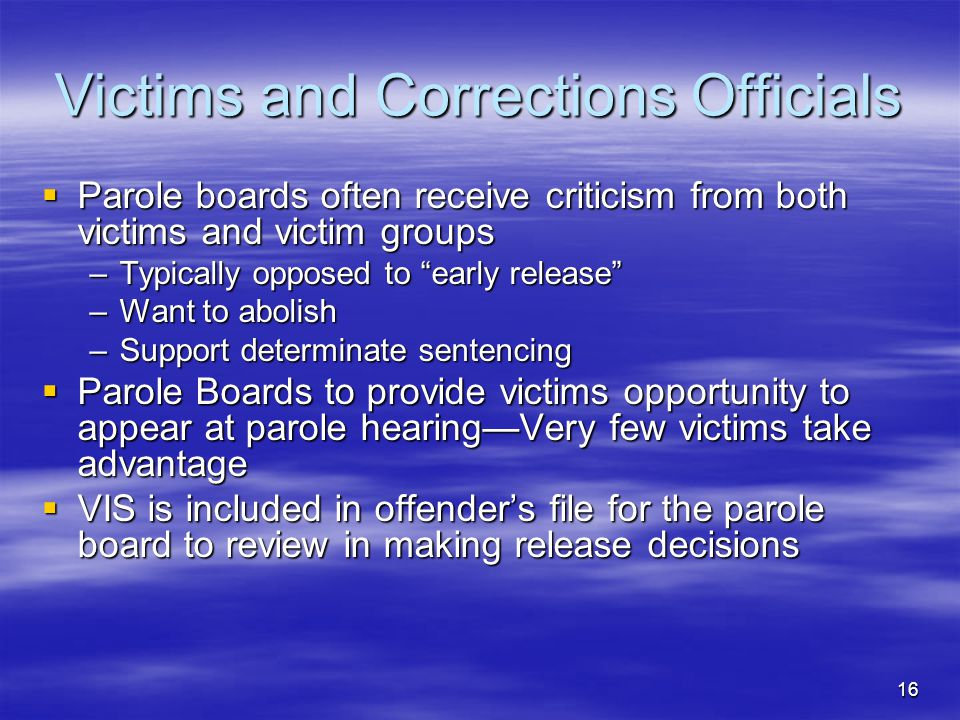 Victims and Corrections Officials