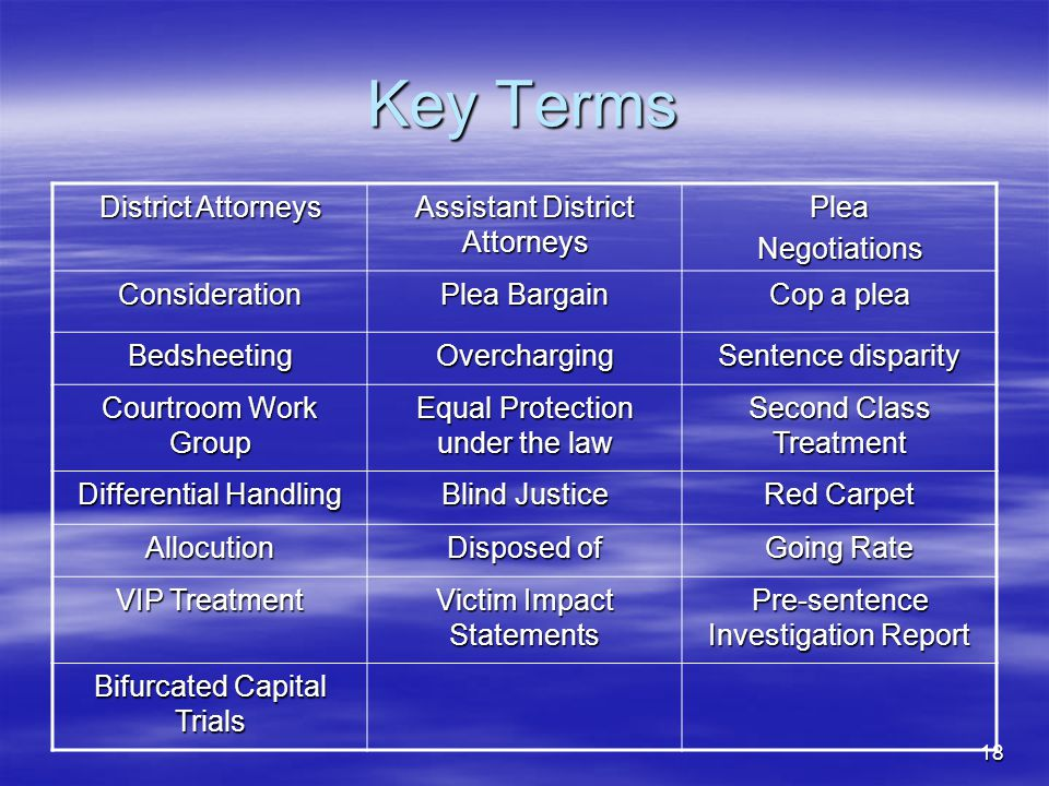 Key Terms District Attorneys Assistant District Attorneys Plea