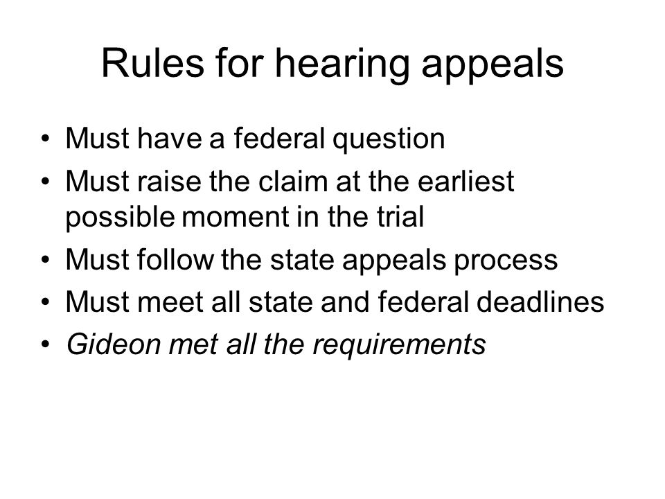 Rules for hearing appeals